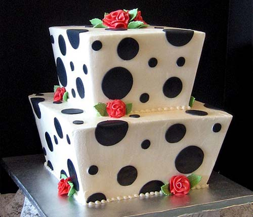 Funky two tier square black and white polk dot cake