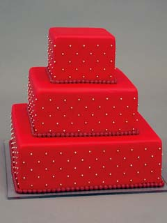 three tier square red wedding cake