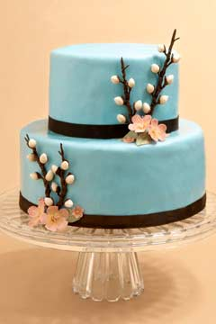 small blue wedding cakes