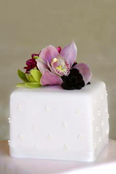 small square wedding cake