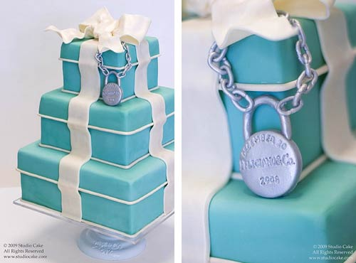 Three tier Tiffany blue wedding cake made to look like a gift box cake
