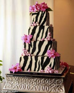 Unusual square, four tier black and white zebra wedding cake design