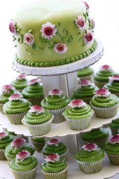 Green tea Cupcake tiered wedding cake covered with green buttercream frosting and tiny pink and white flowers