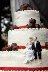 Personalized wedding cake toppers of bride & groom.