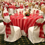 Red & white chair covers and tablecloths