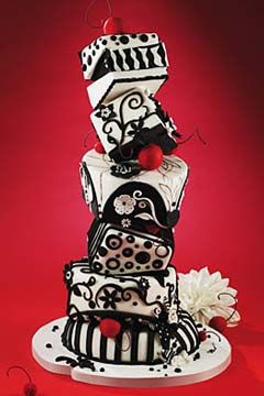 Black and white five tier topsy tuvy wedding cake
