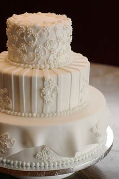 Three tiered winter white wedding cake