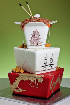 Square three tier white and red Asian theme wedding cake made to look a Chinese takeaway dinner