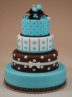 Four tier chocolate brown and blue fondant wedding cake