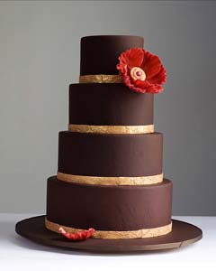 Classic chocolate brown fondant wedding cake decorated with gold leaf ribbon