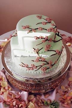 white and pink cherry blossom cake
