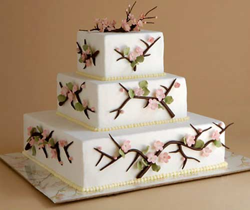 three tier square cherry blossom weddig cake