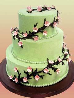 three tier green cherry blossom cake