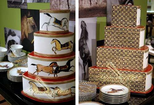 four tier, white, brown and gold, country wedding cake. Decorated with equestrian hand painted horses