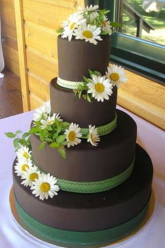 Four tier chocolate brown wedding cake decorated with green ribbon and fresh white daisies
