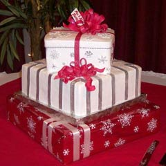 three tier christmas gift box cake