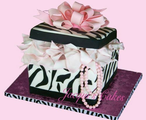 Zebra print, black and white fondant gift box cake