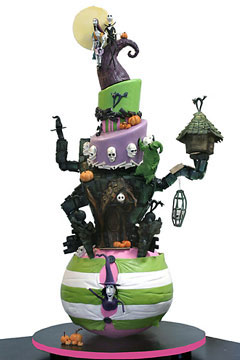 Five tier Nightmare Before Christmas Halloween green and purple wedding cake, decorated with witches, skulls and bats