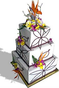 Square three tier, Hawaiian tropical wedding cake design, deocrated with orange, pink, yellow and purple flowers