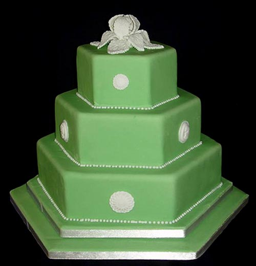 Three tier hexagon green fondant wedding cake