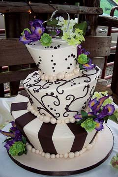 Purple Orange Green Mad Hatter Square Wedding Cake