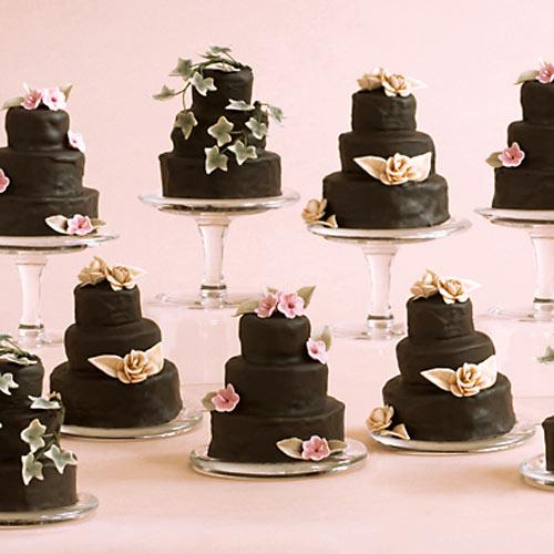 3 tier chocolate miniature wedding cakes