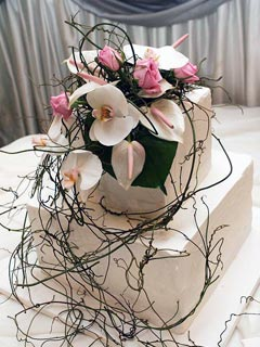 two tier small square wedding cake is covered with royal icing. Decorated with white Phalaenopsis Orchids