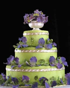 green and purple wedding cake design