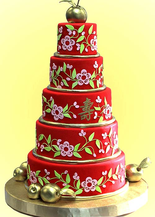 huge Chinese red five tier wedding cake