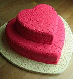 Two tier valentines day heart shaped red wedding cake