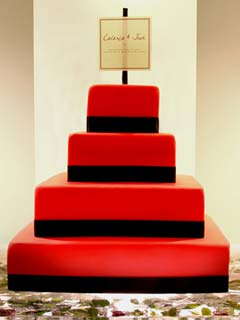 four tier square red wedding cake