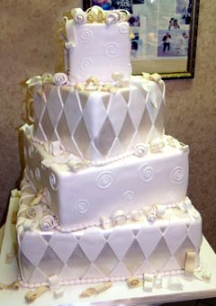 harlequin silver wedding cake