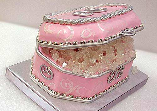 small pink wedding cake