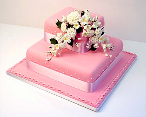 Two tier square pink fondant wedding cake