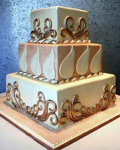 Three tier square chocolate wedding cake