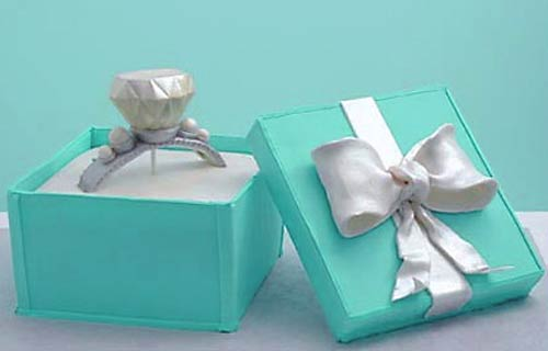 Blue Tiffany ring box wedding cake with a Tiffany diamond ring decorated with pearls
