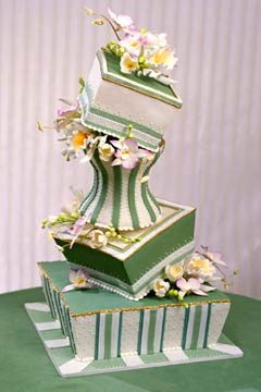 White And Green Topsy Turvy Cakes