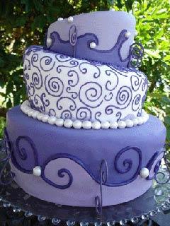 lilac topsy turvy cakes