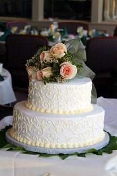 two tiered round wedding cake