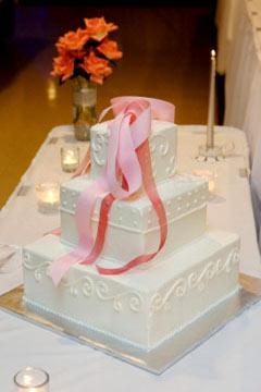 three tiered square wedding cake