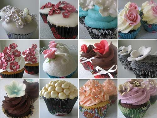 A gorgeous assortment of cupcake wedding cakes in all colours; pink, blue, lilac, orange, ivory, chocolate brown and black. From O'holysweet www.flickr.com