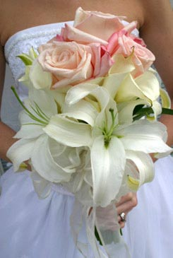 bridal bouquets - pink rose & white lily bouquet - hand tied bouquet