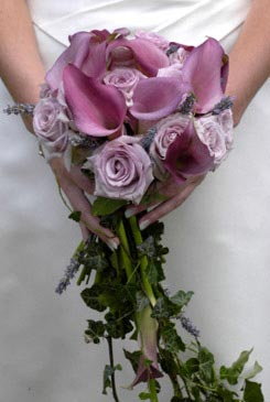 bridal bouquets - rose lilac flower bouquet - calla lillies bouquet