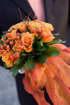 bridal bouquets - orange - exotic floral arrangements