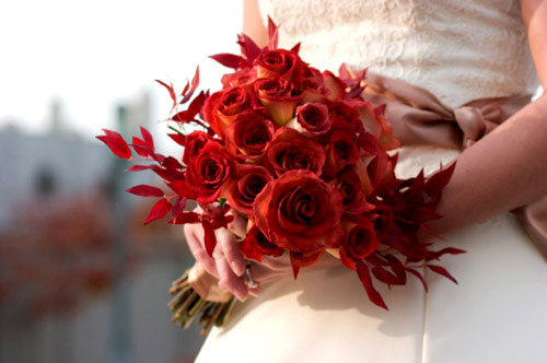 red rose wedding bouquets