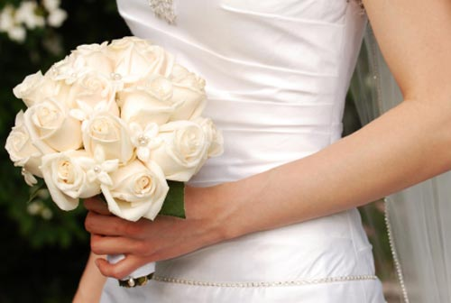 solid white bouquets for