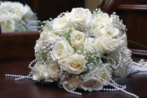 bridal bouquets - white rose bridal bouquet - faux pearls beaded bouquets